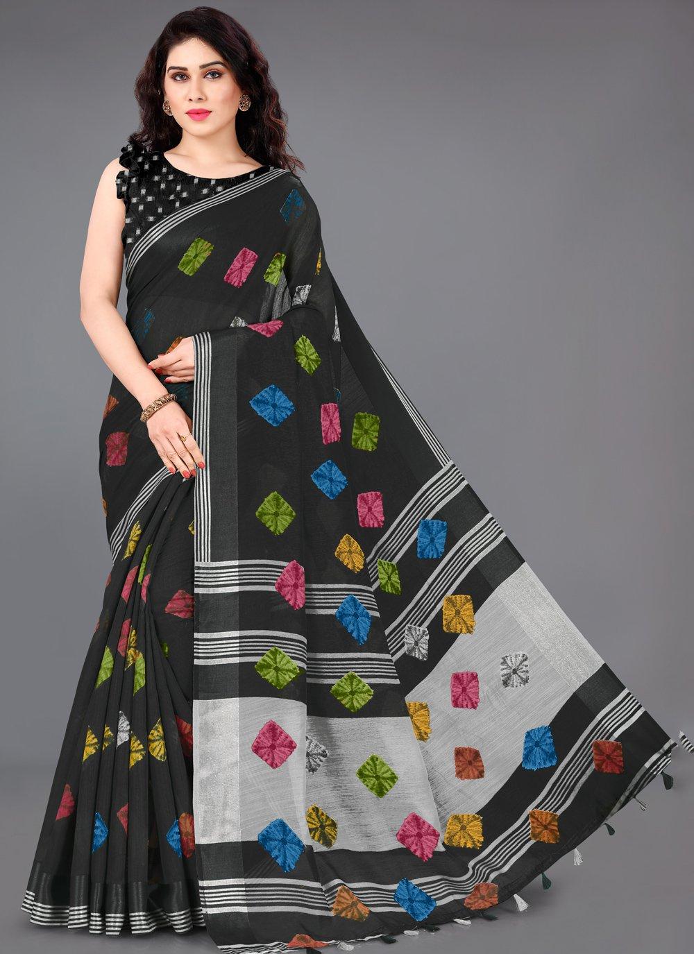Printed Cotton Classic Saree in Black