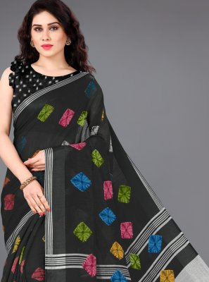 Printed Cotton Classic Saree in Black