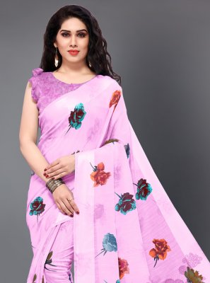 Printed Cotton Contemporary Saree in Pink
