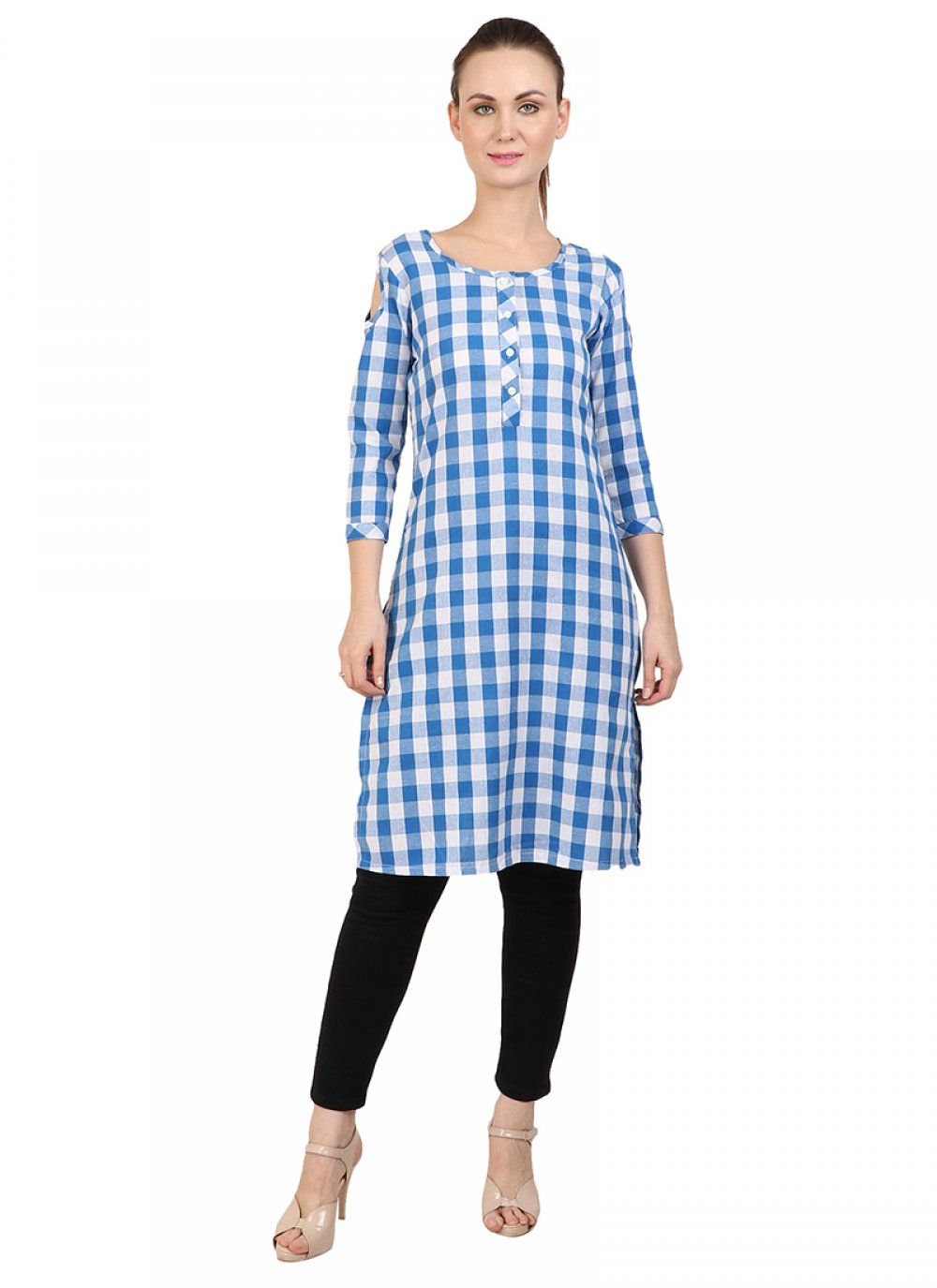 Printed Cotton Designer Kurti in Blue