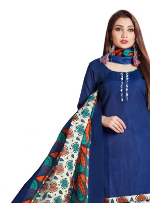 Printed Cotton Designer Patiala Suit in Blue