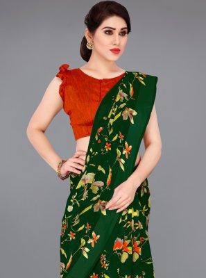 Printed Cotton Green Printed Saree