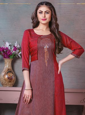 Printed Cotton Maroon Party Wear Kurti