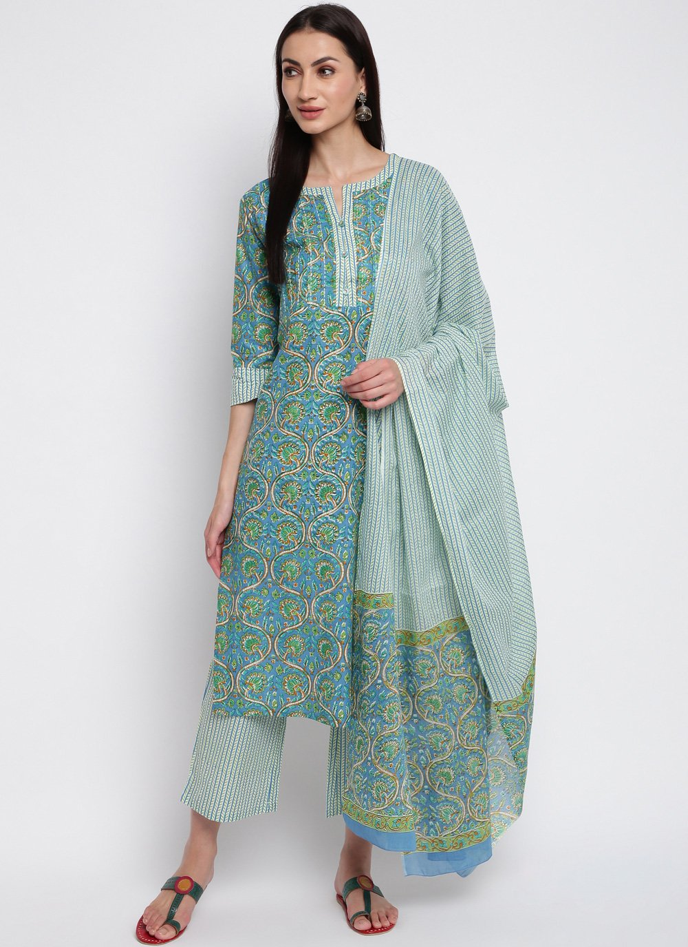 Printed Cotton Multi Colour Trendy Salwar Kameez
