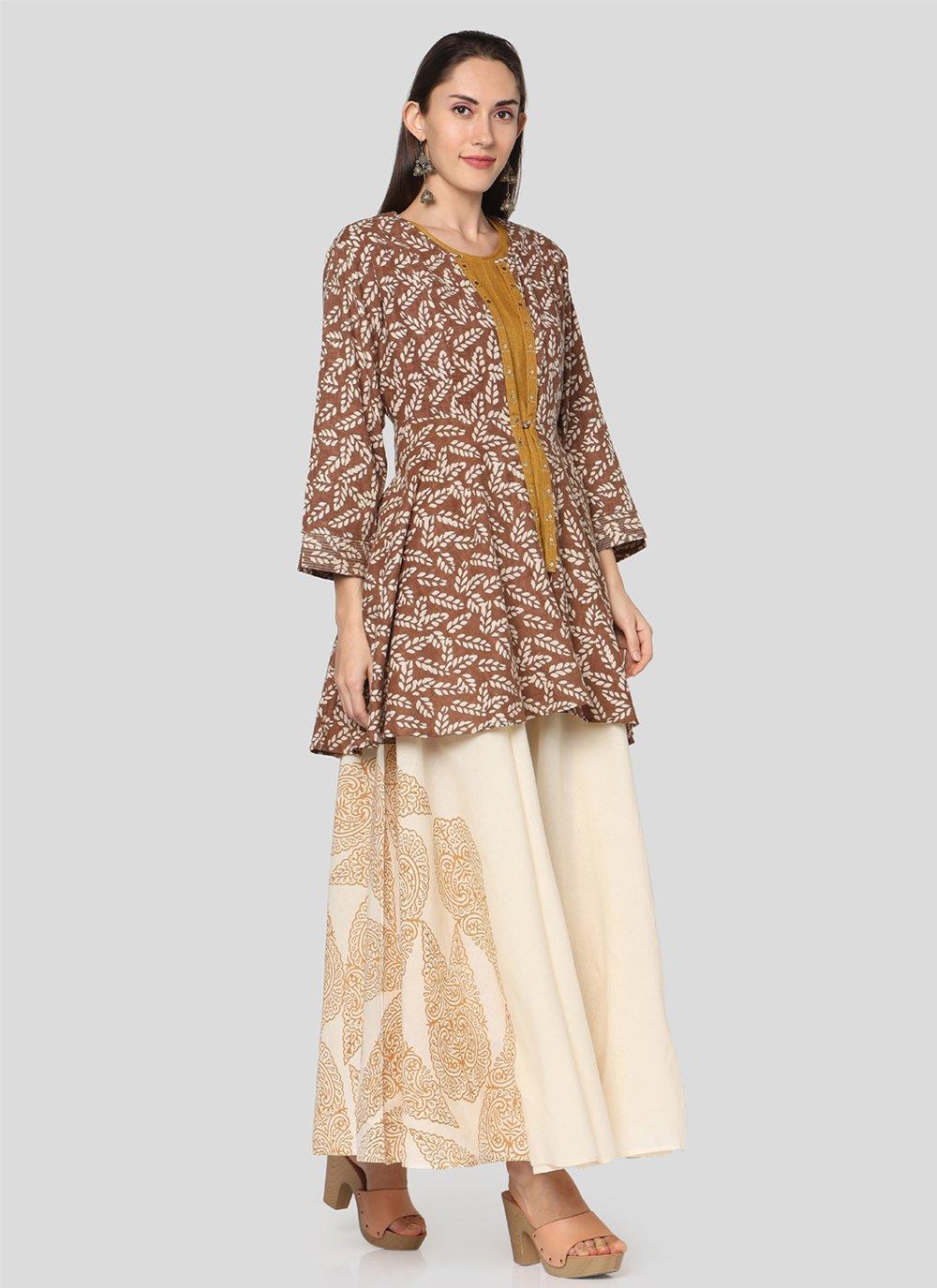 Printed Cotton Mustard Salwar Suit