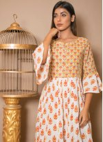 Printed Cotton Off White Salwar Suit