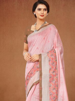 Printed Cotton Peach Classic Saree