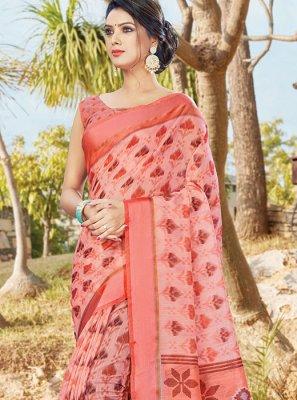 Printed Cotton Printed Saree in Rose Pink