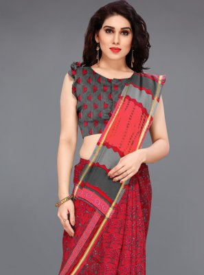 Printed Cotton Red Classic Saree