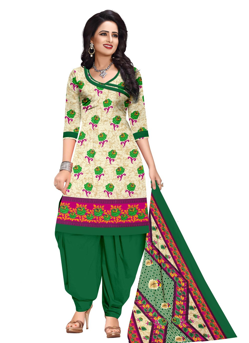 Printed Cotton Salwar Kameez in Cream