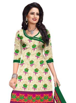 Printed Cotton Salwar Kameez in Cream