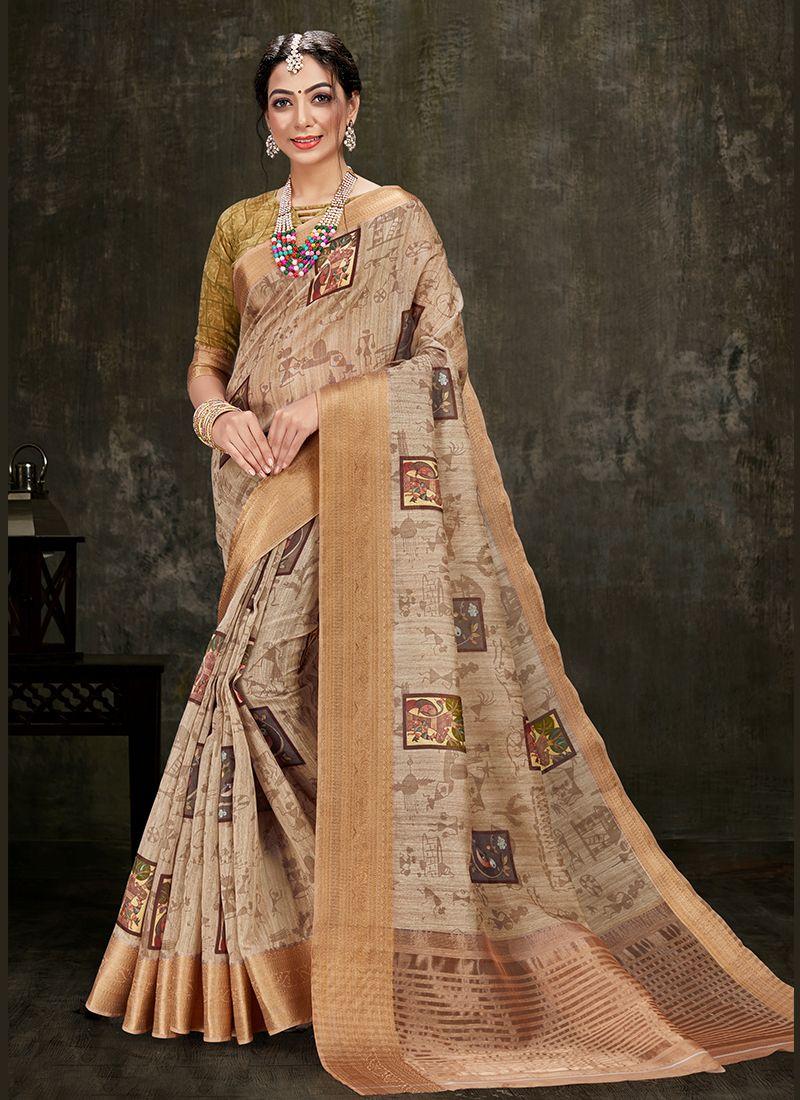 Printed Cotton Silk Beige Designer Traditional Saree