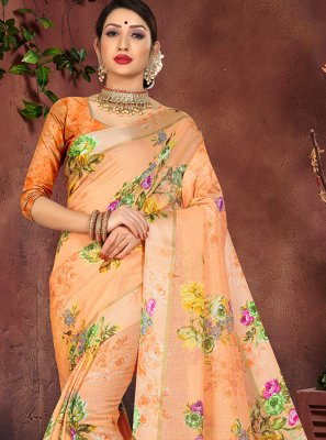 Printed Cotton Silk Designer Saree in Orange