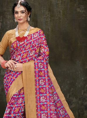 Printed Cotton Silk Hot Pink Printed Saree