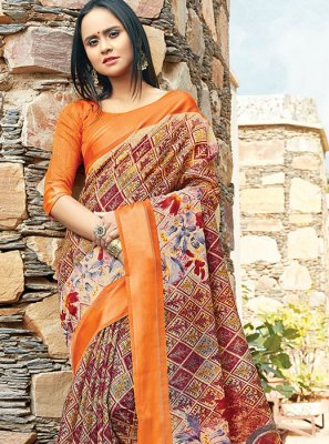 Printed Cotton Trendy Saree in Maroon and Multi Colour