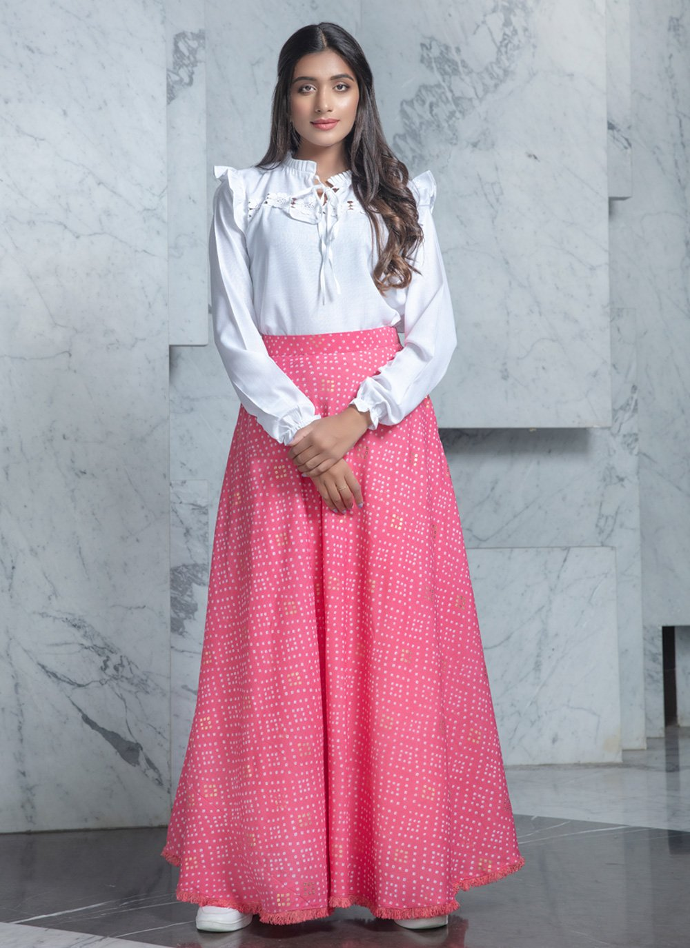 Printed Cotton White Designer Lehenga Choli