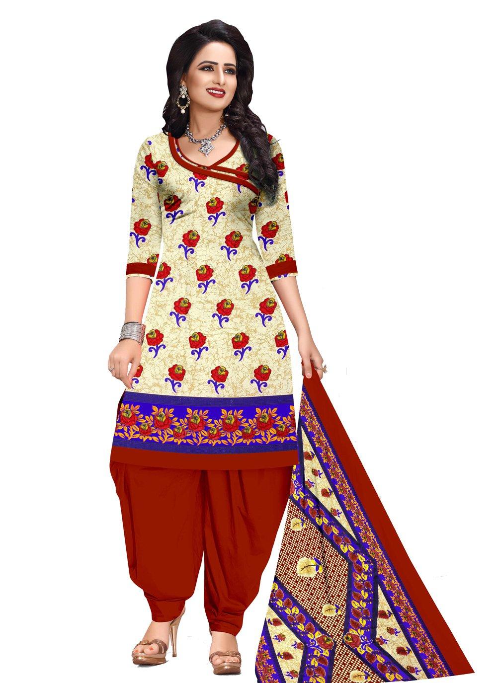 Printed Cream Cotton Salwar Suit
