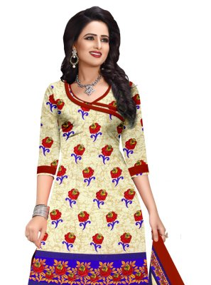 Printed Cream Cotton Salwar Suit