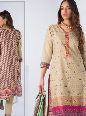 Printed Cream Designer Pakistani Suit