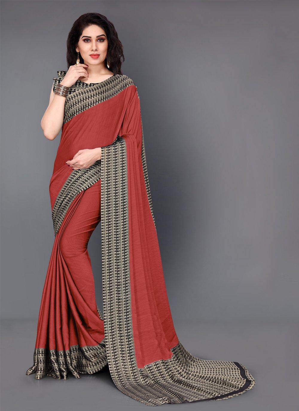 Printed Crepe Silk Casual Saree in Red