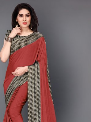 Printed Crepe Silk Casual Saree in Red