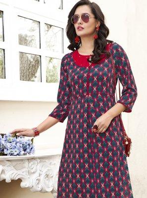 Printed Crepe Silk Multi Colour Designer Kurti
