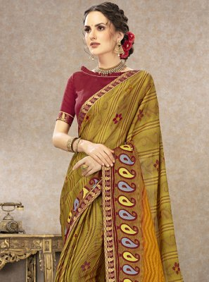 Printed Fancy Fabric Trendy Saree