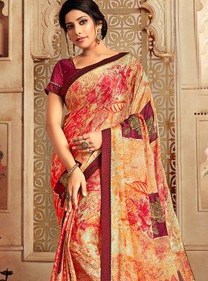 Printed Faux Chiffon Casual Saree in Multi Colour