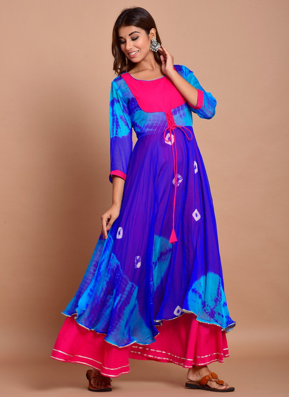 Printed Faux Chiffon Trendy Gown