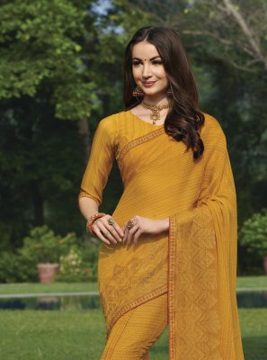 Printed Faux Chiffon Yellow Saree