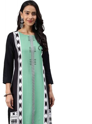 Printed Faux Crepe Casual Kurti in Black and Sea Green