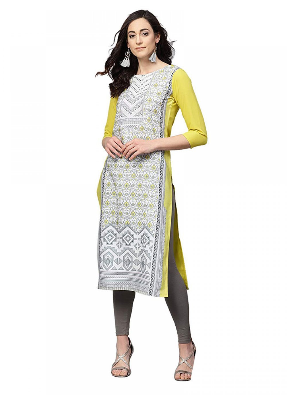 Printed Faux Crepe Casual Kurti in Grey and Yellow