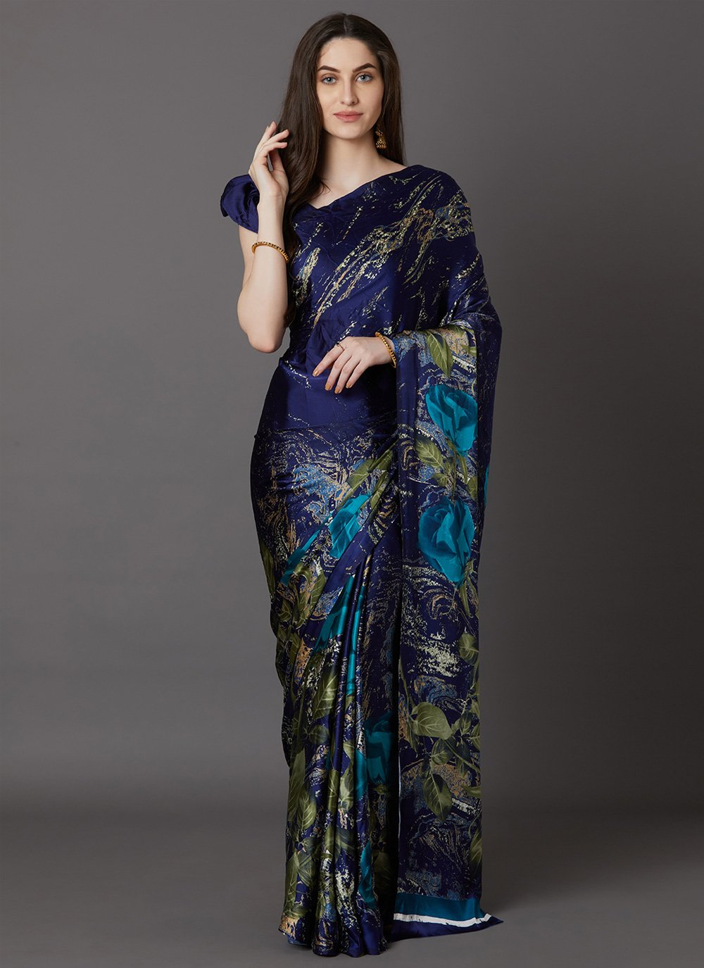 Printed Faux Crepe Casual Saree in Navy Blue