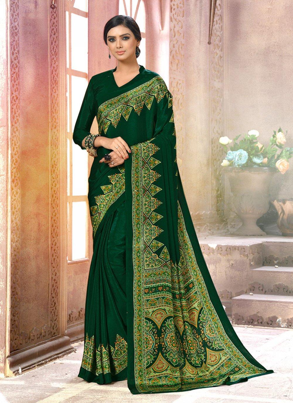 Printed Faux Crepe Green Casual Saree