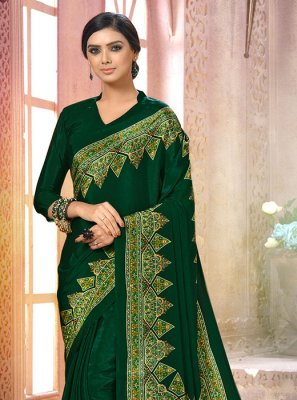 Printed Faux Crepe Green Casual Saree