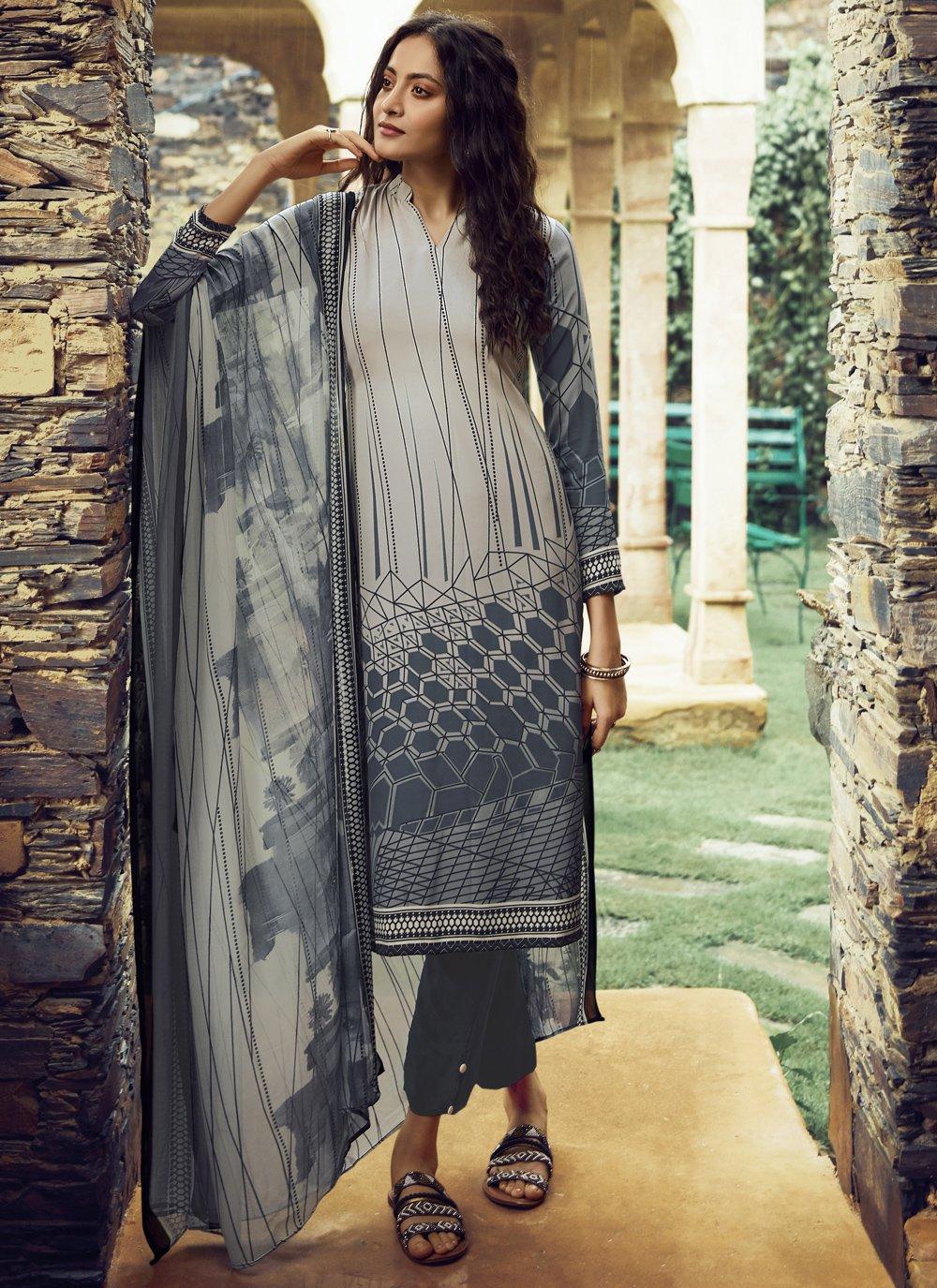 Printed Faux Crepe Grey Pakistani Salwar Kameez
