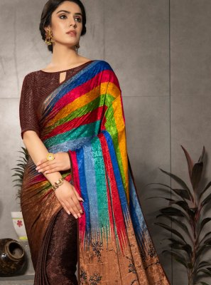 Printed Faux Crepe Multi Colour Casual Saree