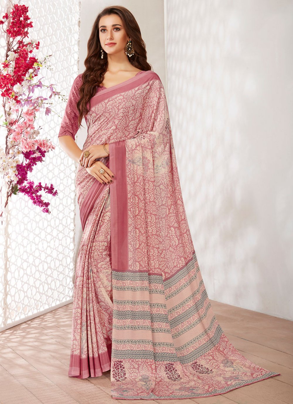 Printed Faux Crepe Multi Colour Printed Saree