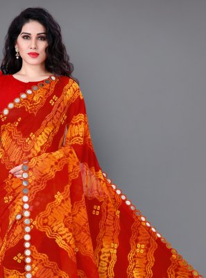 Printed Faux Georgette Classic Saree in Orange