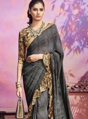 Printed Faux Georgette Grey Casual Saree