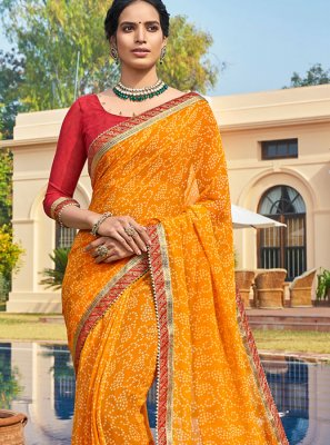 Printed Georgette Bandhani Saree