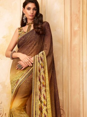 Printed Georgette Brown and Yellow Designer Saree