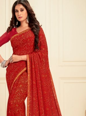 Printed Georgette Casual Saree in Red