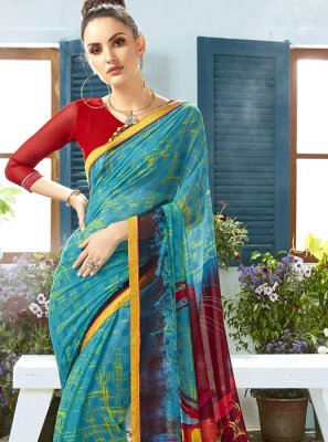 Printed Georgette Classic Saree in Blue