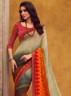 Printed Georgette Classic Saree in Multi Colour
