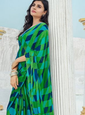 Printed Georgette Green Casual Saree