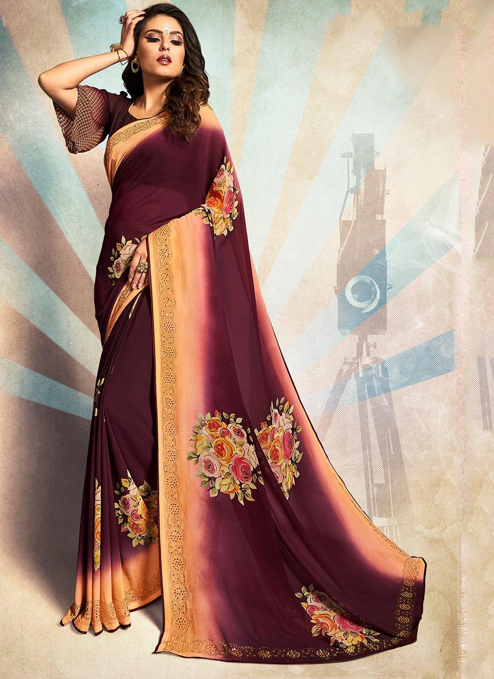 Printed Georgette Purple Traditional Saree