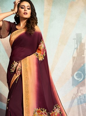 Printed Georgette Purple Traditional Saree