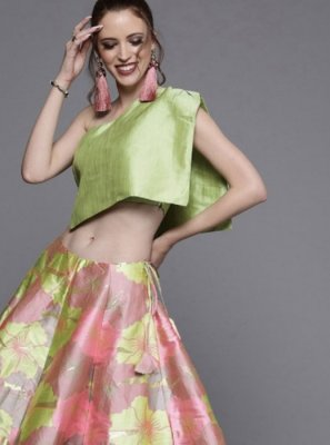 Printed Green and Pink Readymade Lehenga Choli