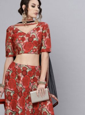 Printed Green and Red Jacquard Readymade Lehenga Choli